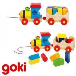 Jouet train bébé à tirer avec 10 formes de construction en bois 2 ans +
