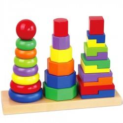 Jouet d'éveil en bois empiler des formes géométriques 3 tours