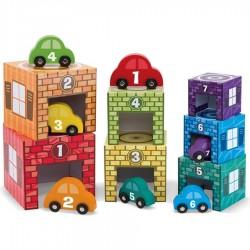 Jouet Garages voitures 7 cubes empilables