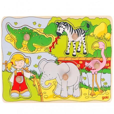 Puzzle en bois à boutons Les animaux de la jungle