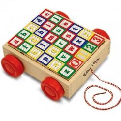 Chariot de cubes en bois ABC et 123 Jouet en bois à tirer