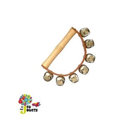 jouet musical Poignée en bois et cuir avec 7 grelots
