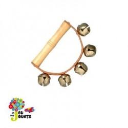 jouet musical Poignée en bois et cuir avec grelots