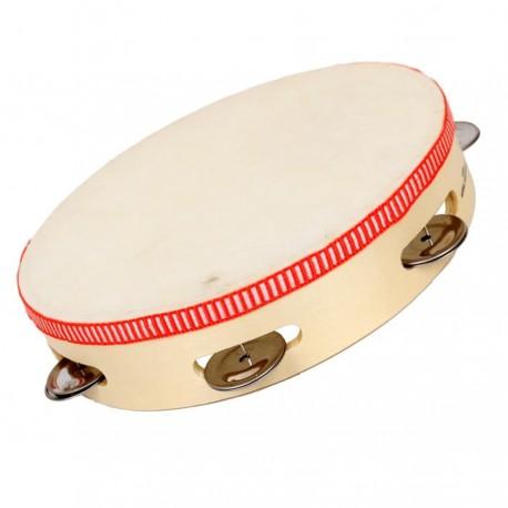 Tambourin cymbales en bois et peau 22 cm instrument de musique enfants