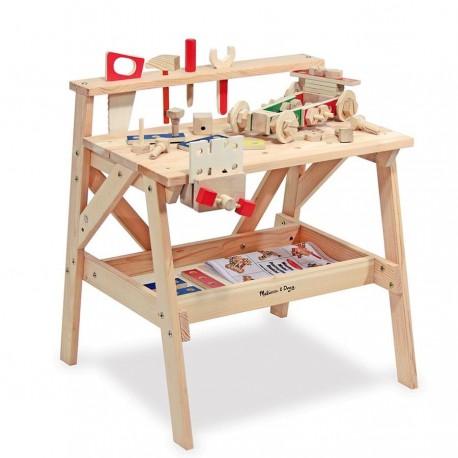 Établi enfant en bois massif - 61 pièces + modèles de construction