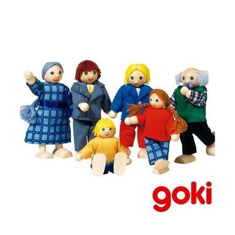 Famille de 6 poupées articulées en bois pour maison de poupée