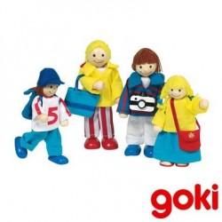 Famille de 4 poupées articulées en bois pour maison de poupée
