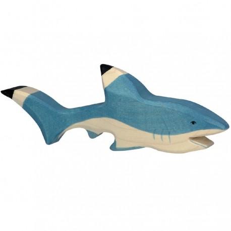 Animaux en bois requin figurine Holztiger