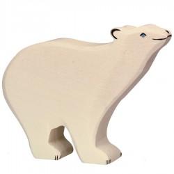 Animaux en bois ours polaire figurine Holtztiger