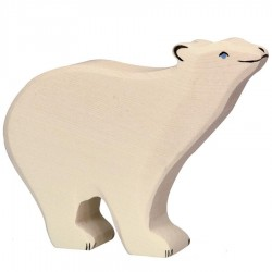 Animaux en bois ours polaire figurine Holztiger