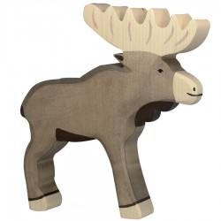 Animaux en bois élan figurine Holztiger
