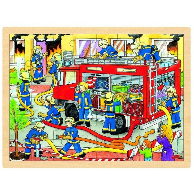 puzzle pompier en bois enfants 3 ans. Black Bedroom Furniture Sets. Home Design Ideas