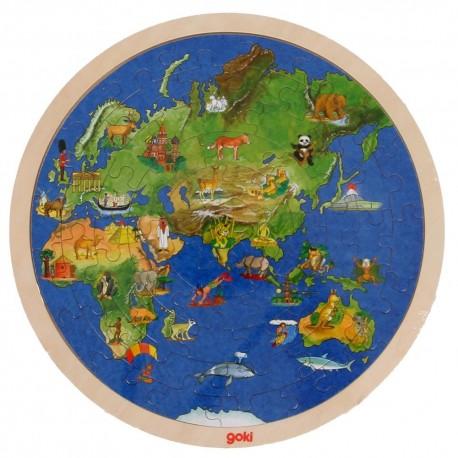 Puzzle Le monde en bois Globe terrestre double face