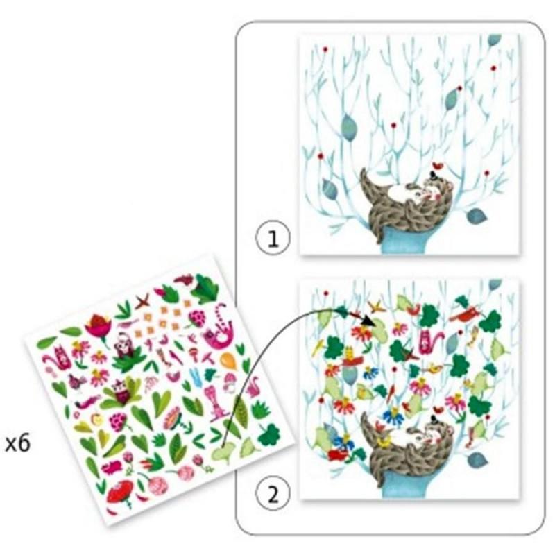 Dessins aux stickers djeco le printemps pour enfants de 4 - Djeco coloriage ...