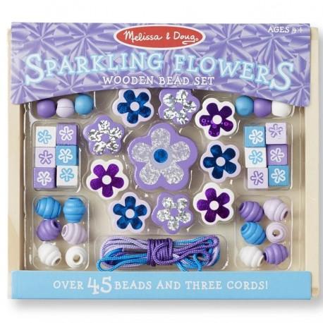 Kit perles en bois fleurs violettes