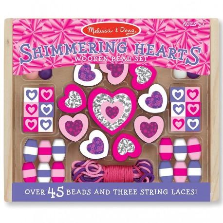 Kit perles en bois coeur rose et violet