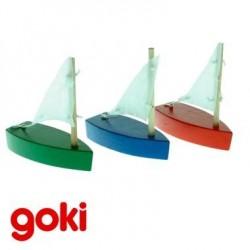 Set de 3 petits bateaux voilier en bois