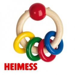 Jouet d'éveil Hochet 4 anneaux en Bois anneau de dentition
