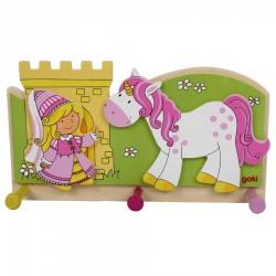 Porte manteau mural enfant Petite princesse avec licorne Décoration chambre fille
