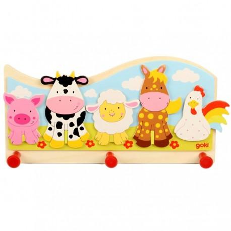 Portemanteau mural animaux de la ferme