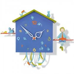Horloge murale enfant Le garçon et le chat Oiseau bateau