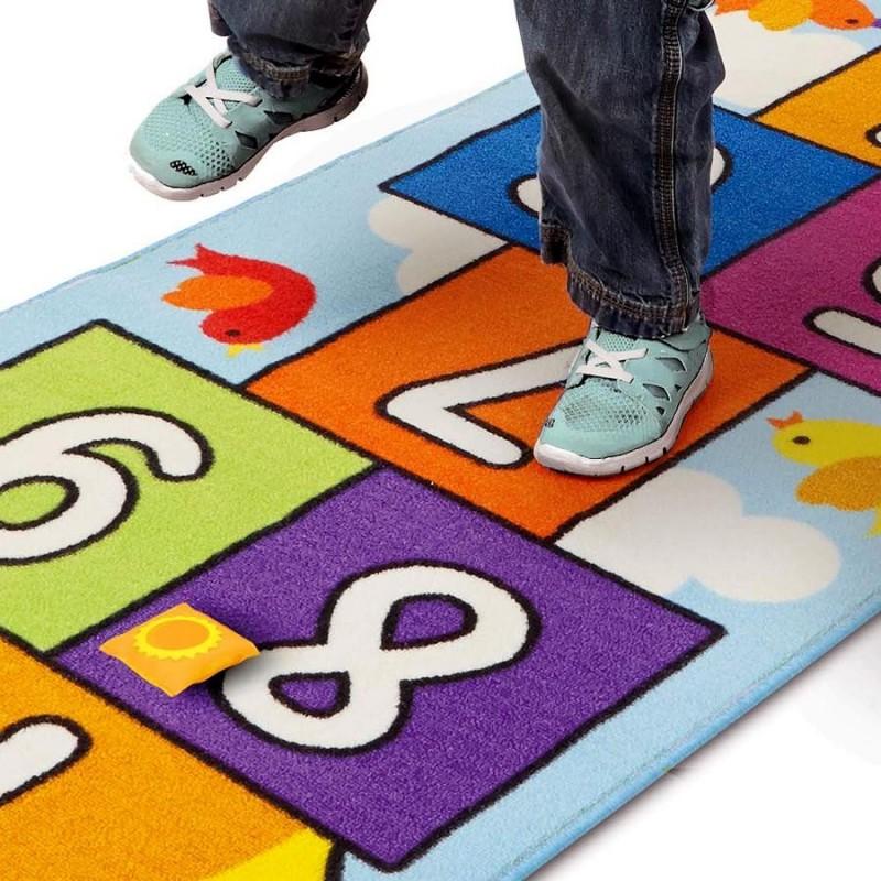 tapis de jeu la marelle pour chambre d 39 enfant 200 x 66 cm. Black Bedroom Furniture Sets. Home Design Ideas