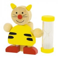 Porte brosse à dents Sablier chat en bois pour Enfant
