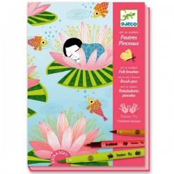 Loisirs créatifs pour filles Kit de dessin Feutres Pinceaux Djeco Nymphéa
