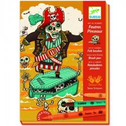 Djeco Kit de dessin Feutres Pinceaux Mort de peur