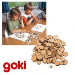 Rondelles en bois 100 pcs collage loisir créatif Enfant 3 ans +