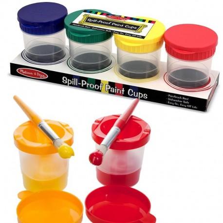 Pots pour peinture enfant anti-renversement 4 pots pour essorer les pinceaux