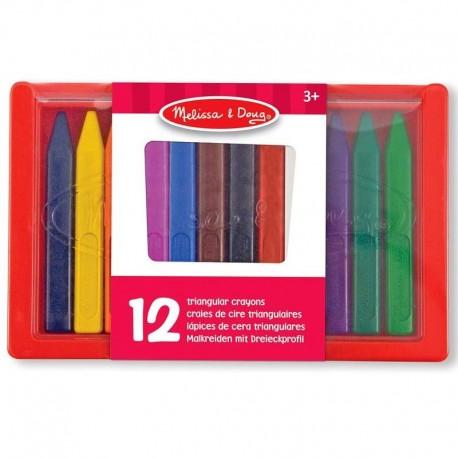 Crayons de cire triangulaire 12 crayons pastel dans étui plastique Enfants 3 ans +