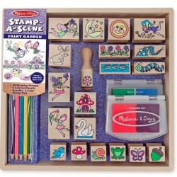 Tampons en bois Jardin enchanté 26 pièces avec encreur et crayons 4 ans +