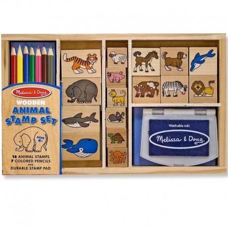 Loisirs créatifs tampons Les Animaux 24 pièces encreur et crayons