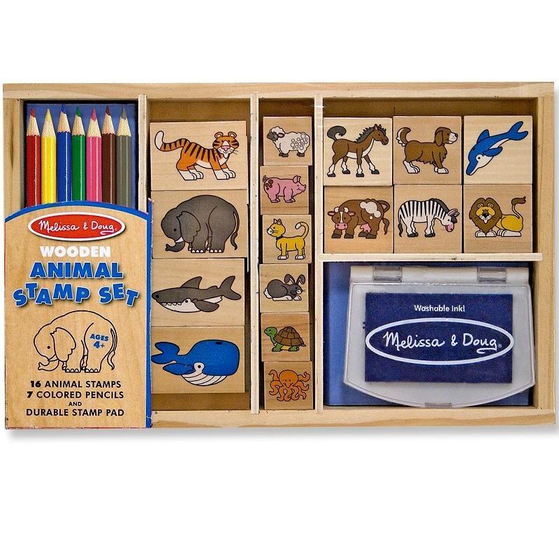 loisirs cr atifs tampons en bois les animaux 24 pi ces avec encreur et crayons enfants 4 ans. Black Bedroom Furniture Sets. Home Design Ideas