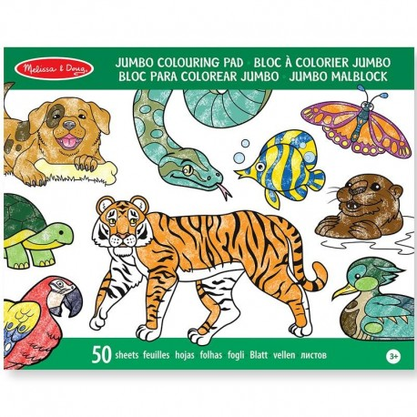 Blocs de coloriage grand format 50 pages Animaux Enfants 3 ans +