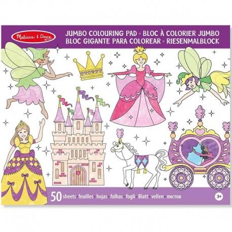Cahier de coloriage grand format Bloc de 50 pages Princesses Enfants 3 ans +