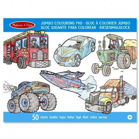 Bloc de coloriage grand format 50 pages Véhicules Enfants 3 ans +