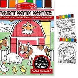 Kit peinture à l'eau sur la page + Pinceau 20 dessins La ferme  Enfants 3 ans +