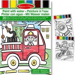 Kit peinture à l'eau sur la page + Pinceau 20 dessins Les Véhicules  Enfants 3 ans +