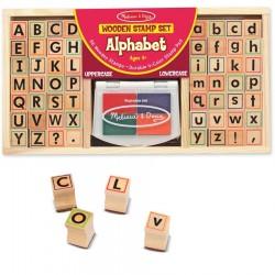 Tampons en bois alphabet avec encreur