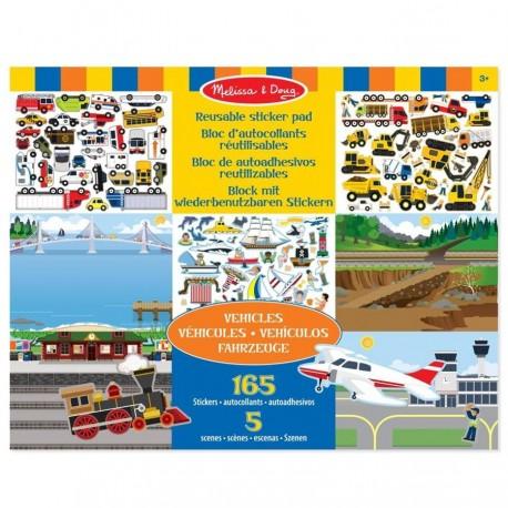 Stickers repositionnables Véhicules 5 scènes 165 pièces