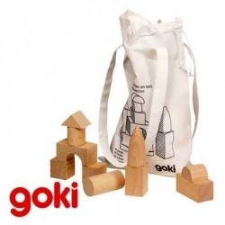 Jeu de 45 Blocs de construction en bois Poche coton Enfant 3 ans