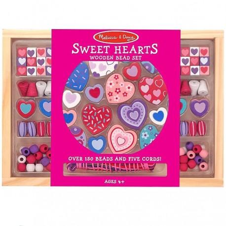 Kit perles enfants set 120 pièces perles en bois Cœur 4 ans +