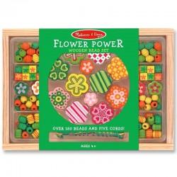 Perles fantaisies enfants en bois Vert fleurs set 120 pièces