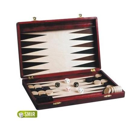 Jeux Société Coffret Backgammon acajou 28 x 15 cm