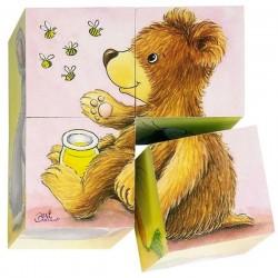 Puzzles de 4 cubes bébés animaux Jeu jouet en bois Enfant 2 ans