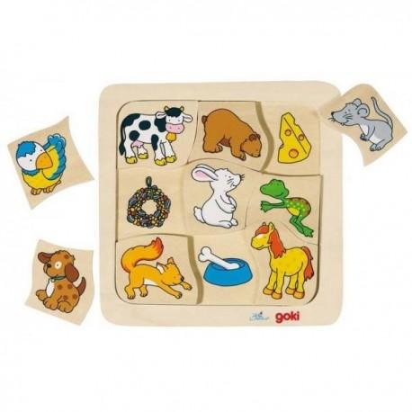 Puzzle en bois qui mange quoi 9 pcs Enfant 2 ans +