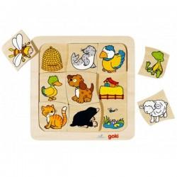Puzzle en bois qui vit où ? 9 pcs puzzle Enfant 2 ans +