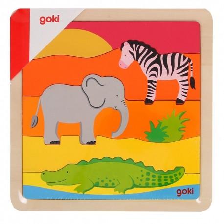 Puzzle pièces horizontales en bois Savane Enfant 2 ans